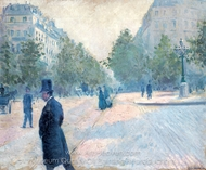 Place Saint-Augustin, Misty Weather painting reproduction, Gustave Caillebotte