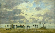 Plage de Deauville painting reproduction, Eugene-Louis Boudin