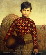 Plaid Sweater painting reproduction, Grant Wood