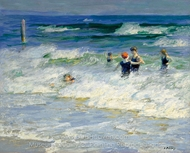 Playing in the Surf painting reproduction, Edward Henry Potthast