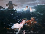 Playing in the Waves painting reproduction, Arnold Bocklin