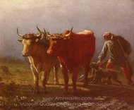 Plowing painting reproduction, Constant Troyon