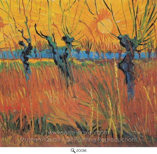 Vincent Van Gogh, Pollard Willow with Setting Sun oil painting reproduction