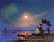 Pont-Aven in the Moonlight painting reproduction, Ferdinand Du Puigaudeau