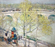 Pont Royal, Paris painting reproduction, Childe Hassam