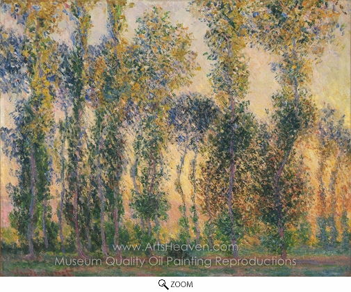 Claude Monet, Poplars at Giverny, Sunrise oil painting reproduction