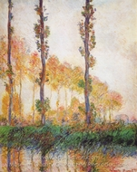 Poplars, Autumn painting reproduction, Claude Monet