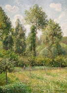 Poplars, Eragny painting reproduction, Camille Pissarro
