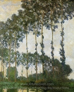 Poplars Near Giverny, Overcast Weather painting reproduction, Claude Monet