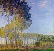Poplars on the Banks of the River Epte, Seen from the Marsh painting reproduction, Claude Monet