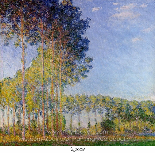 Claude Monet, Poplars on the Banks of the River Epte, Seen from the Marsh oil painting reproduction