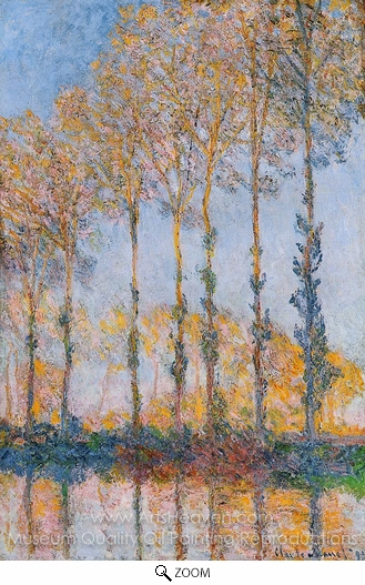 Claude Monet, Poplars, White and Yellow Effect oil painting reproduction