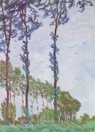 Poplars, Wind Effect painting reproduction, Claude Monet