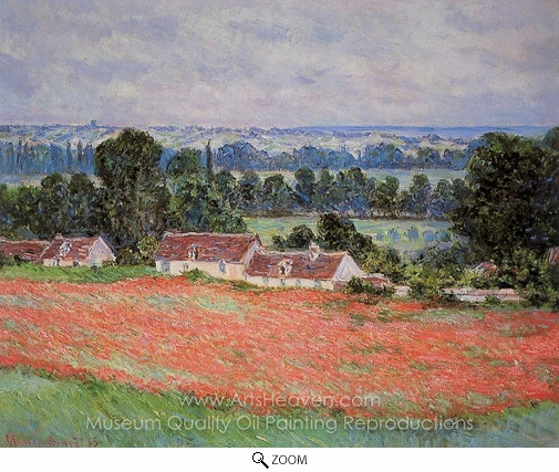 Claude Monet, Poppy Field at Giverny oil painting reproduction