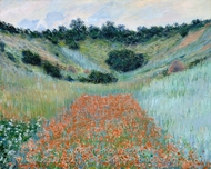 Poppy Field in a Hollow Near Giverny painting reproduction, Claude Monet