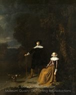 Portrait of a Couple in a Landscape painting reproduction, Gerrit Dou
