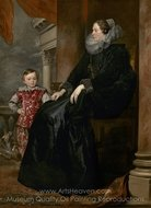 Portrait of a Genoese Noblewoman with Her Son painting reproduction, Sir Anthony Van Dyck