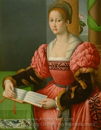 Portrait of a Woman with a Book of Music painting reproduction, Francesco Ubertini Bacchiacca