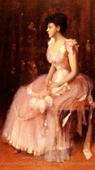Portrait of a Lady in Pink painting reproduction, William Merritt Chase