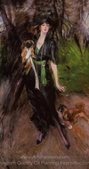 Portrait of a Lady, Lina Bilitis, with Two Pekinese painting reproduction, Giovanni Boldini