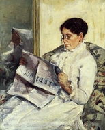 Portrait of a Lady Reading Le Figaro painting reproduction, Mary Cassatt