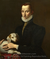Portrait of a Lady with a Dog painting reproduction, Italian Painter