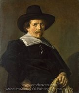 Portrait of a Man Holding Gloves painting reproduction, Frans Hals
