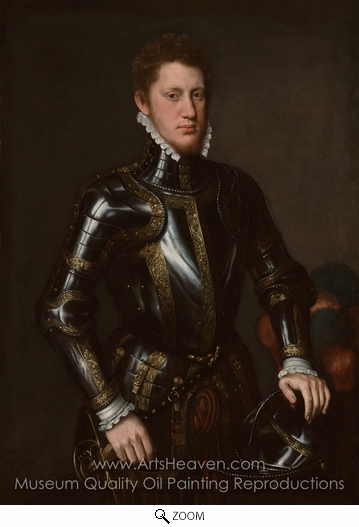 Antonis Mor van Dashorst, Portrait of a Man in Armour oil painting reproduction