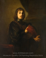 Portrait of a Man with a Breastplate and Plumed Hat painting reproduction, Rembrandt Van Rijn