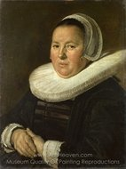 Portrait of a Middle-Aged Woman with Hands Folded painting reproduction, Frans Hals