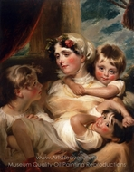 Portrait of a Mother and Her Children (Mrs. Weddell) painting reproduction, George Henry Harlow