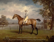 Portrait of a Racehorse, Possibly Disguise, the Property of the Duke of Hamilton, with Jockey Up painting reproduction, George Garrard