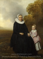 Portrait of a Seated Woman and a Girl in a Landscape painting reproduction, Dutch Painter