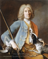 Portrait of a Sportsman Holding a Gun with a Hound painting reproduction, Jean-Baptiste Oudry