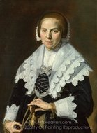Portrait of a Woman Holding a Fan painting reproduction, Frans Hals