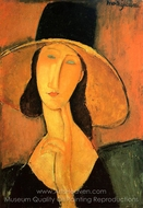 Portrait of a Woman with Hat painting reproduction, Amedeo Modigliani