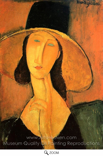 Amedeo Modigliani, Portrait of a Woman with Hat oil painting reproduction