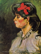 Portrait of a Woman with Red Ribbon painting reproduction, Vincent Van Gogh