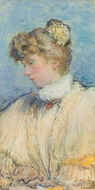 Portrait of a Young Woman in Profile painting reproduction, Jean-Francois Raffaelli