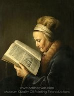 Portrait of an Old Woman Reading painting reproduction, Gerrit Dou