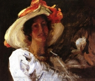 Portrait of Clara Stephens painting reproduction, William Merritt Chase