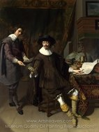 Portrait of Constantijn Huygens and His Clerk painting reproduction, Thomas De Keyser