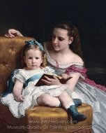 Portrait of Eva and Frances Johnston painting reproduction, William A. Bouguereau