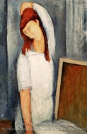 Portrait of Jeanne Hebuterne, Left Arm Behind Head painting reproduction, Amedeo Modigliani