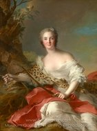 Portrait of Madame Bonnier de la Mosson as Diana (Constance-Gabrielle-Magdeleine du Monciel de Lauraille) painting reproduction, Jean Marc Nattier