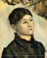 Portrait of Madame Cezanne painting reproduction, Paul C�zanne