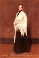 Portrait of Mrs. C Shawl painting reproduction, William Merritt Chase