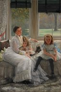 Portrait of Mrs. Catherine Smith Gill and Two of Her Children painting reproduction, James Tissot