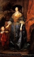 Portrait of Queen Henrietta Maria with Sir Jeffery Hudson painting reproduction, Sir Anthony Van Dyck