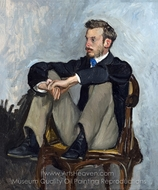 Portrait of Renoir painting reproduction, Jean Frederic Bazille